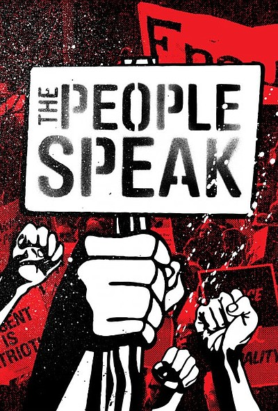 "Promotional photo for the film ""The People Speak,"" narrat..."