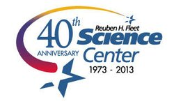 Promotional logo for the Reuben H. Fleet's 40th Anniversary. Courtesy of the Reuben H. Fleet Science Center.