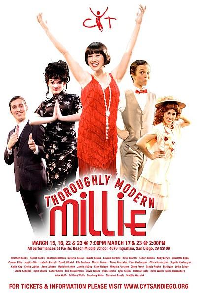 "Promotional poster for CYT's ""Thoroughly Modern Millie"". March 15-17 & 22-23, 2013."