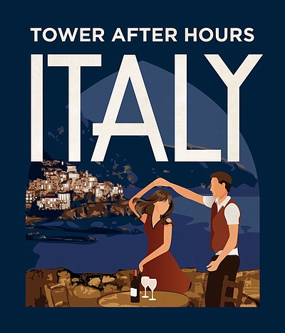 Promotional graphic for the Tower After Hours: Italy at the San Diego Museum of Man on April 18th, 2013.