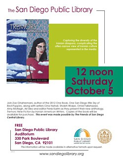 "Promotional flyer for 'Tremors: New Fiction By Iranian American Writers"" on October 5, 2013. Courtesy image of San Diego Central Library."