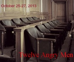 "Promotional graphic for ""Twelve Angry Men,"" showing at the Community Actors Theatre October 25 - 27. Courtesy of Trinity Theatre Company."