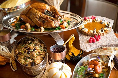 Promotional graphic for the Thanksgiving buffet at the US Grant Hotel.