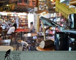 Promotional graphic for the Upstart Crow Bookstore and Coffeehouse.