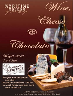 Promotional image for Wine, Cheese and Chocolate on Friday May 3, 2013 from 7:00pm to 10:00pm