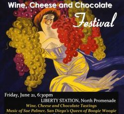 Promotional image for the 6th Annual Wine, Cheese, and Chocolate Festival.