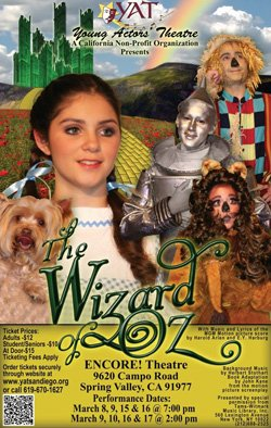 """Promotional flyer for Young Actors' Theatre presents """"The Wizard of Oz."""""""