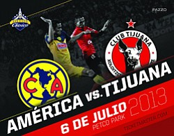 Promotional graphic for Xolos Vs. Club America playing at Petco Park on July 6, 2013.