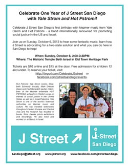 Promotional flyer for J Street San Diego's first year celebration on October 6, 2013. Courtesy image of J Street San Diego.