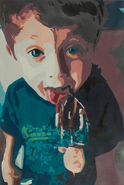 "Promotional artwork for Young Art 2013 at San Diego Museum of Art. Student artwork by Nicolette Martinson, Grade 12, Westview High School. ""Brownie Batter."" Acrylic on paper. Courtesy image of San Diego Museum of Art."