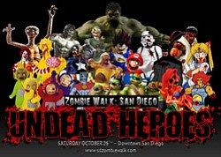 Promotional graphic of 7th Annual October Gaslamp Zombiewalk: Undead Heroes on October 26, 2013.