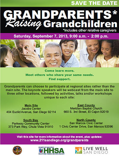 Promotional graphic for 2013 Grandparents Raising Granchildren Symposium .Courtesy of 211 San Diego.
