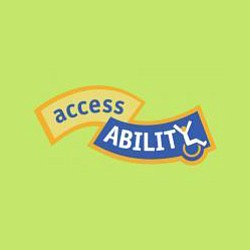 "Graphic logo of San Diego Museum of Man's ""access/ABILITY"" exhibit. Courtesy image of San Diego Museum of Man."