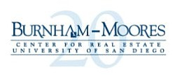 Promotional graphic for the Burnham-Moores Center for Real Estate. Courtesy of the University of San Diego.