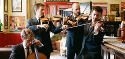 Image of the Calder Quartet, who will be performing at the Intimate Classics presented by the California Center for the Arts: Escondido.