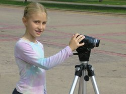 Image of a camper making a video during the MOPA Music Video summer camp.