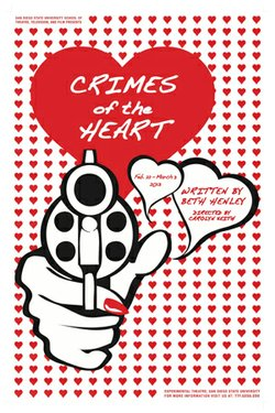 "Promotional graphic for the ""Crimes of the Heart"" performing at SDSU Experimental Theatre."