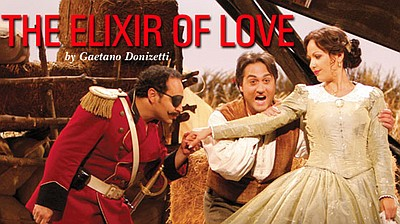 "Promotional image for the opera, ""The Elixir of Love"", which will be playing at the San Diego Civic Theatre."