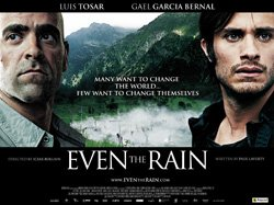 "Promotional movie poster for ""Even the Rain"" playing at Central Public Library."