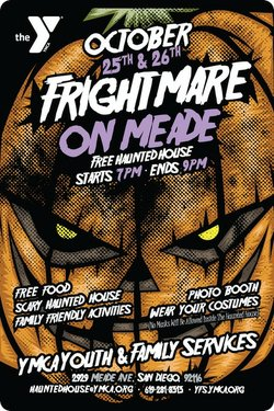 "Promotional graphic for the ""Frightmare on Mean"" haunted house. Courtesy of YMCA Youth & Community Center."