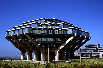 Exterior image of Geisel Library at UCSD.