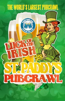 Promotional graphic for the Luck Of The Irish St. Patty's Day Pub Crawl on March 15th-17th, 2013.