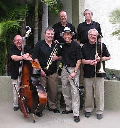 Image of the High Society Jazz Band, who will be performing at the Encinitas Library on August 4th, 2013.