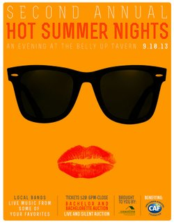 Promotional graphic for the 2nd Annual Hot Summer Nights, taking place September 10, 2013.