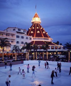 Promotional photo of the Hotel Del Coronado decorated for the holidays. Courtesy of Hotel Del Coronado.