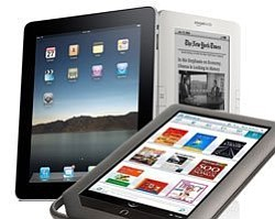Promotional image of Nook, iPad and Kindle.