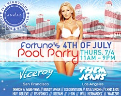 Promotional Graphic for Andaz San Diego Hosts Fortune's Fourth Of July Rooftop Pool Party & Fireworks Viewing taking place on July 4, 2013. Courtesy of Ivy Andaz Nightclub.