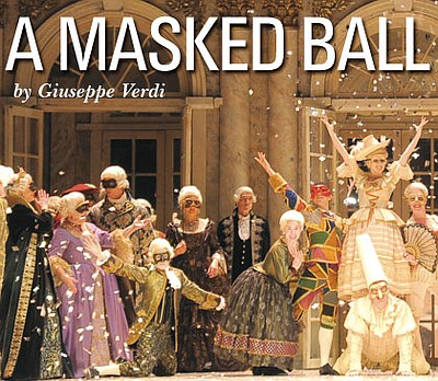 "Promotional image for the opera, ""A Masked Ball"", which will be playing at the San Diego Civic Theatre."