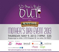 Promotional graphic for Mom's Night Out Mother's Day Event on May 9, 2013.