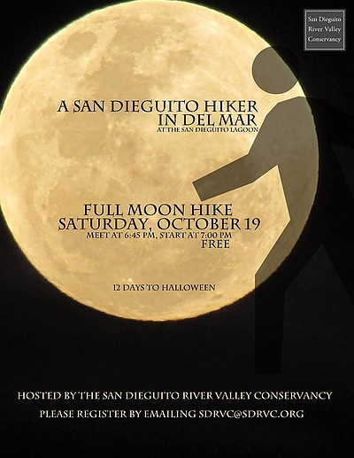 Promotional graphic for the Full Moon Hike, taking place on October 19. Courtesy of the San Diego River Valley Conservancy.