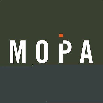 Graphic logo of The Museum of Photographic Arts. Courtesy of MOPA.