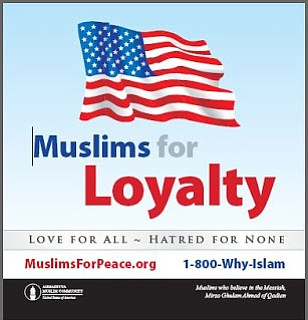 Promotional graphic for the Muslims for Loyalty Campaign. MuslimsForPeace.org