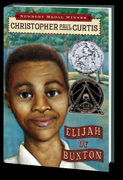"""Graphic cover of the book, """"Elijah of Buxton"""" by Newbery ..."""