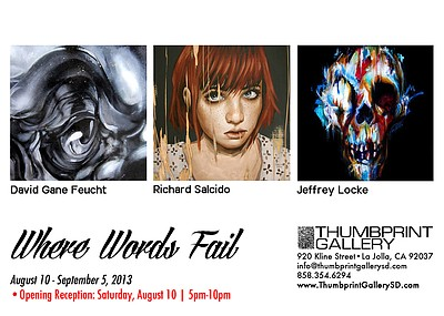 "Promotional graphic for ""Where Words Fail,"" opening August 10. Courtesy of Thumbprint Gallery."