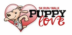 Promotional graphic for the Puppy Love 5K Run/Walk taking place in Solana Beach on February 10th, 2013.