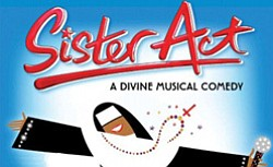 "Promotional graphic for ""Sister Act"" Broadway musical being performed at San Diego Civic Theatre"