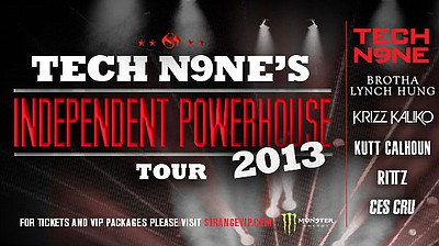 Promotional graphic for the performance of Tech N9ne's Independent Tour 2013. Coming to San Diego on March 29th, 2013.
