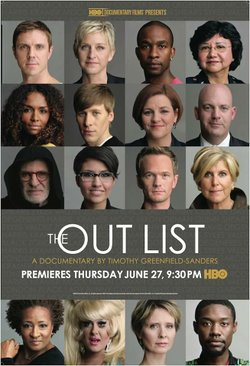 "Promotional graphic for the Humanist Film Discussion Group event covering ""The Out List,"" on August 25. Courtesy of The Out List."