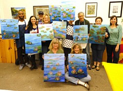 Promotional image of Nancy Isbell's Paintin' Party- Monet Style Waterlilies at Bravo School of Art.