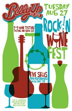 Promotional graphic for Belly Up's Rockin Wine Festival taking place August 27. Courtesy of the Belly Up Tavern.