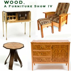 "Promotional graphic for ""WOOD, A Furniture Show,"" presented by the Escondido Arts Partnership,  January 10 - February 1, 2014 at Escondido Municipal Art Gallery. There will be an opening reception on Saturday, January 11, 2014 from 5:30pm to 8:00pm."