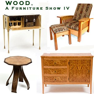 "Promotional graphic for ""WOOD, A Furniture Show,"" present..."