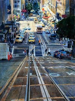 "Promotional image of ""San Francisco Powell"" watercolor  29""x21"" by Htun Tin Arcadia, CA participating in Fallbrook Art Center's World of Watercolor."