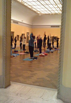 Promotional image of San Diego Museum of Art's Yoga at the Museum on March 11th, 2013.