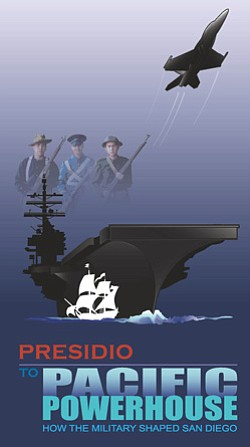 Promotional poster for 'Presidio To Pacific Powerhouse: How The Military Shaped San Diego' Exhibit at Veterans Museum & Memorial.