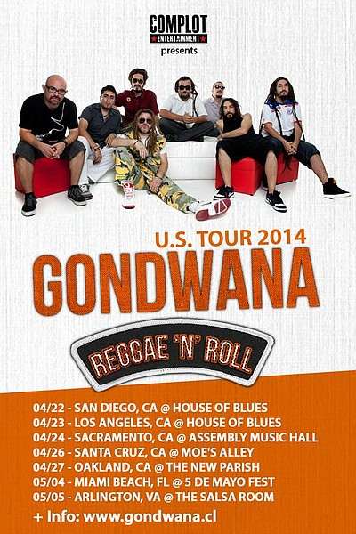"Promotional graphic of reggae group, Gondwana's U.S. Tour ""Reggae 'n' Roll."""